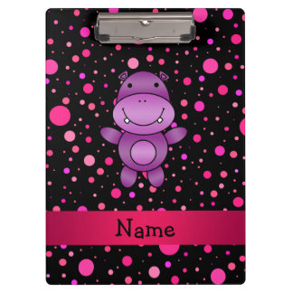Personalized name hippo black pink polka dots clipboard