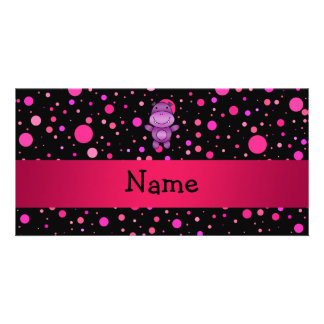 Personalized name hippo black pink polka dots picture card