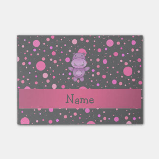 Personalized name hippo black pink polka dots post-it® notes