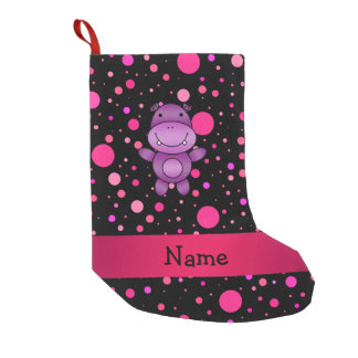 Personalized name hippo black pink polka dots small christmas stocking