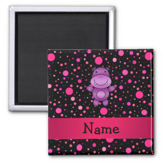 Personalized name hippo black pink polka dots square magnet