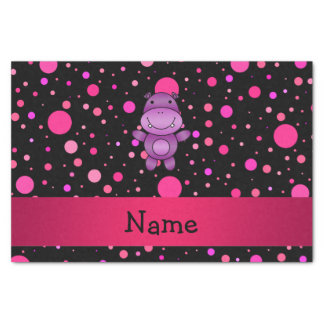 Personalized name hippo black pink polka dots tissue paper