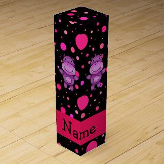 Personalized name hippo black pink polka dots wine box