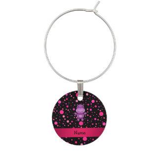 Personalized name hippo black pink polka dots wine charm
