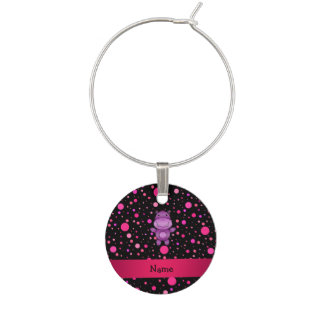 Personalized name hippo black pink polka dots wine charms