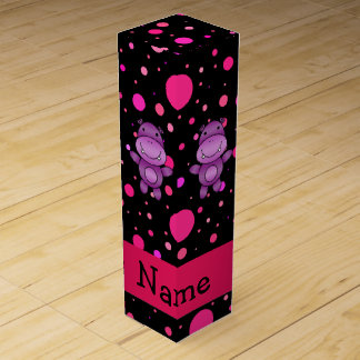 Personalized name hippo black pink polka dots wine gift boxes