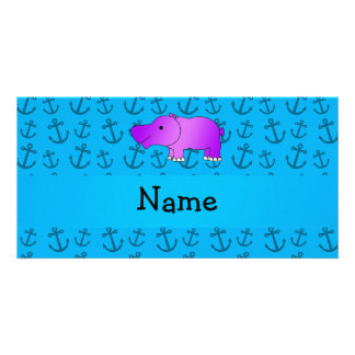 Personalized name hippo blue anchors pattern personalised photo card