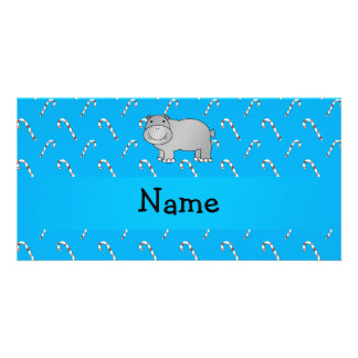 Personalized name hippo blue candy canes personalised photo card