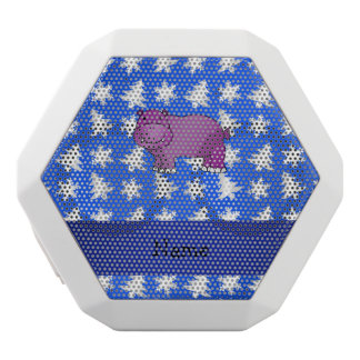 Personalized name hippo blue snowflakes trees white boombot rex bluetooth speaker