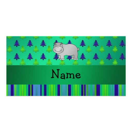 Personalized name hippo green blue stripes photo cards