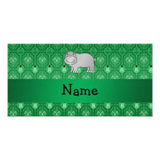 Personalized name hippo green snowmen photo card template