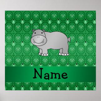 Personalized name hippo green snowmen poster