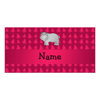 Personalized name hippo pink christmas trees customized photo card