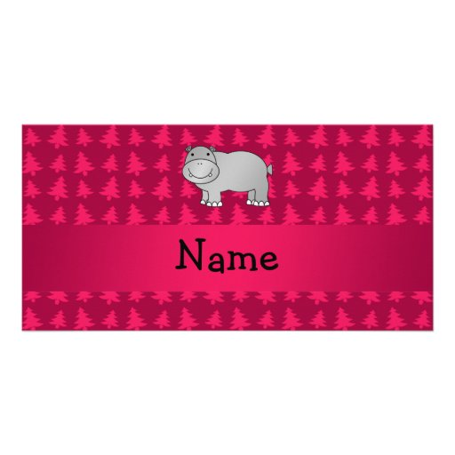 Personalized name hippo pink christmas trees custom photo card