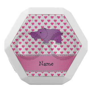 Personalized name hippo pink hearts polka dots white boombot rex bluetooth speaker