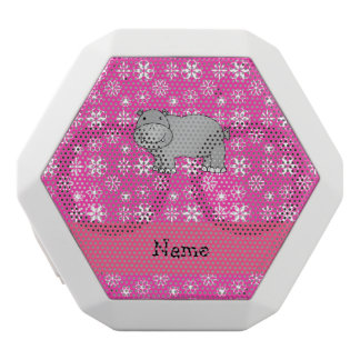 Personalized name hippo pink snowflakes white boombot rex bluetooth speaker