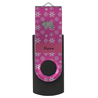 Personalized name hippo pink snowflakes swivel USB 2.0 flash drive