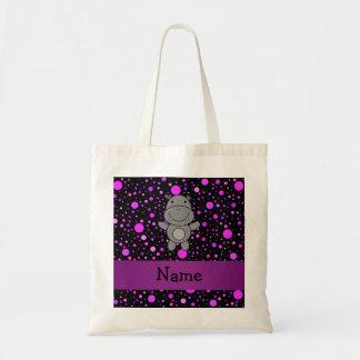 Personalized name hippo purple polka dots