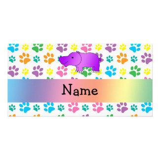 Personalized name hippo rainbow paws photo cards