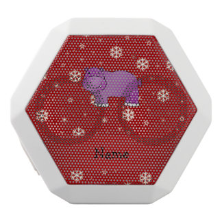 Personalized name hippo red snowflakes white boombot rex bluetooth speaker