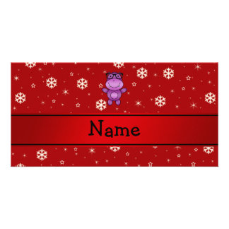 Personalized name hippo red snowflakes personalised photo card