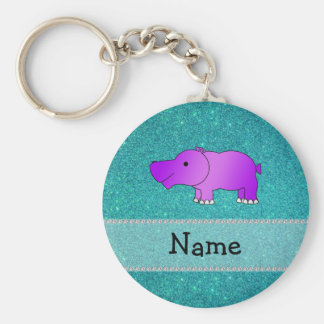 Personalized name hippo turquoise glitter basic round button key ring