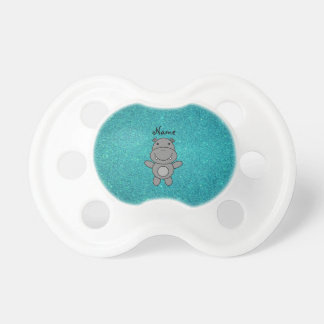 Personalized name hippo turquoise glitter dummy