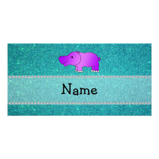 Personalized name hippo turquoise glitter personalized photo card