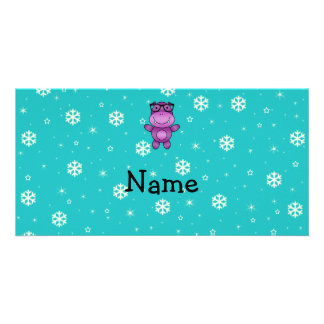 Personalized name hippo turquoise snowflakes custom photo card
