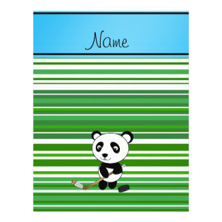 Personalized name hockey panda green stripes full color flyer