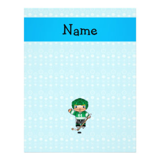 Personalized name hockey player blue bubbles 21.5 cm x 28 cm flyer