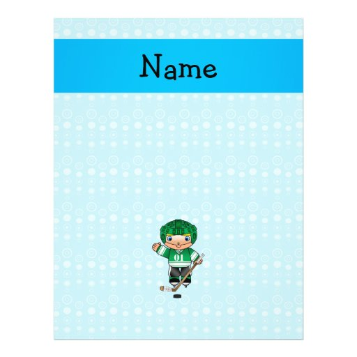 Personalized name hockey player blue bubbles custom flyer