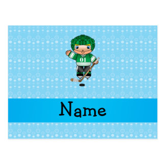 Personalized name hockey player blue bubbles postcard