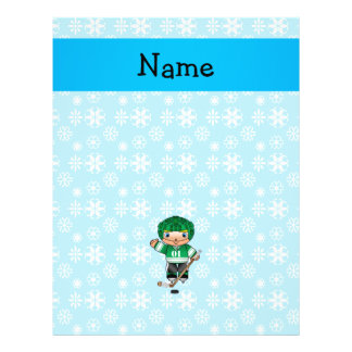 Personalized name hockey player blue snowflakes 21.5 cm x 28 cm flyer