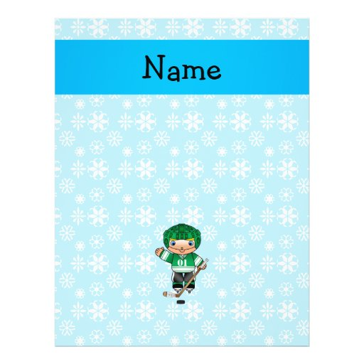 Personalized name hockey player blue snowflakes custom flyer
