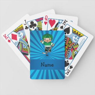 Personalized name hockey player blue sunburst bicycle playing cards