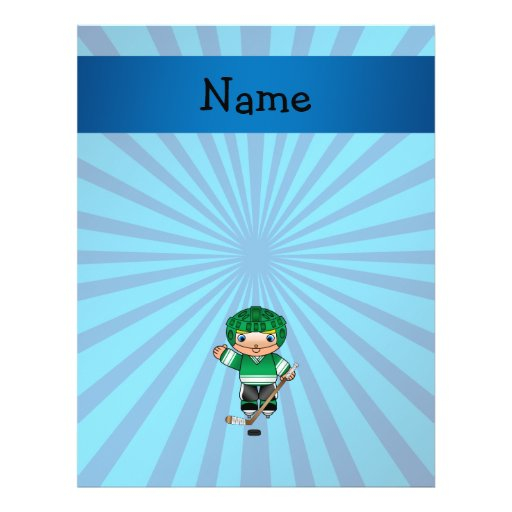 Personalized name hockey player blue sunburst full color flyer
