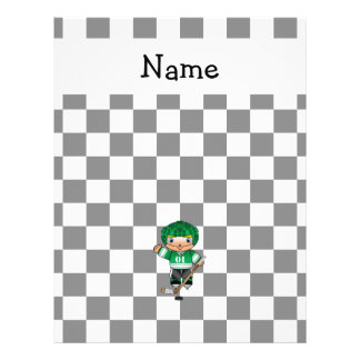 Personalized name hockey player checkers 21.5 cm x 28 cm flyer