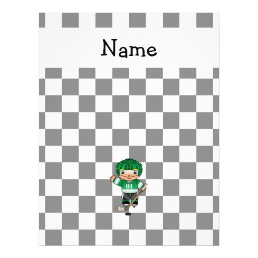 Personalized name hockey player checkers personalized flyer