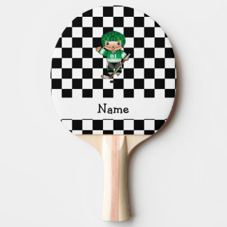 Personalized name hockey player checkers ping pong paddle
