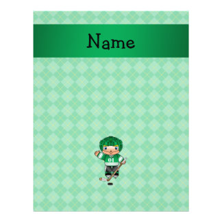 Personalized name hockey player green argyle 21.5 cm x 28 cm flyer