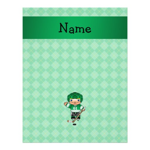 Personalized name hockey player green argyle flyer