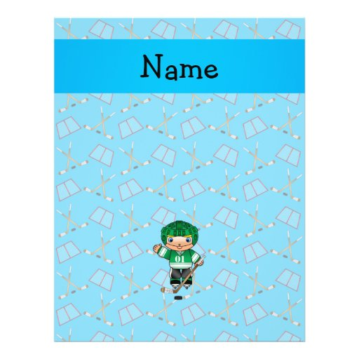 Personalized name hockey player sky blue hockey personalized flyer