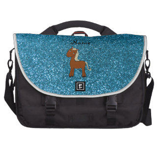 Personalized name horse blue glitter bag for laptop
