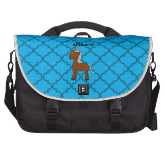 Personalized name horse blue moroccan laptop shoulder bag