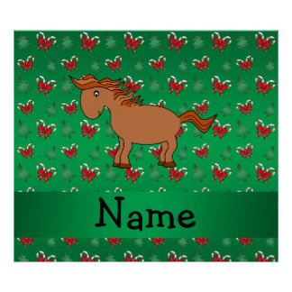 Personalized name horse green candy canes bows print