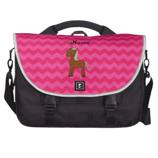 Personalized name horse hot pink chevrons commuter bag