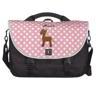 Personalized name horse pink polka dots laptop bags