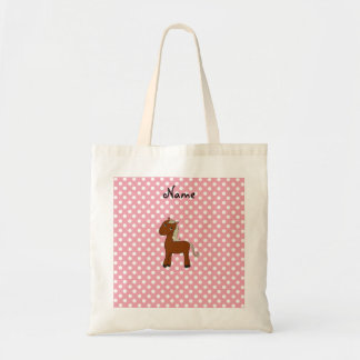 Personalized name horse pink polka dots tote bag