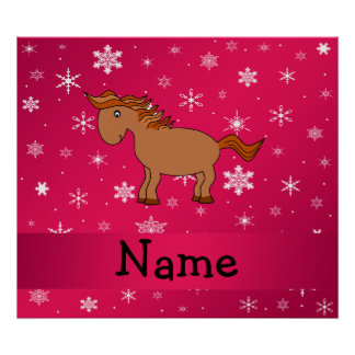 Personalized name horse pink snowflakes poster